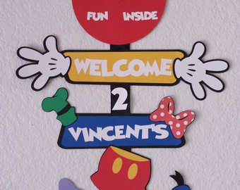 Mickey Mouse Clubhouse door sign,Mickey mouse birthday party sign, Mickey Mouse welcome sign