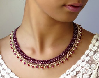 Red statement necklace, Red necklace, Red crystal necklace, Burgundy necklace, Pearl and crystal necklace, Elegant necklace, Beaded necklace