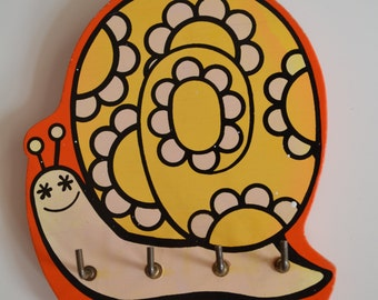 Sale! Vintage Wooden Orange & Yellow Snail Kitchen / Key Holder Rack Was 12.99 Now 9.99