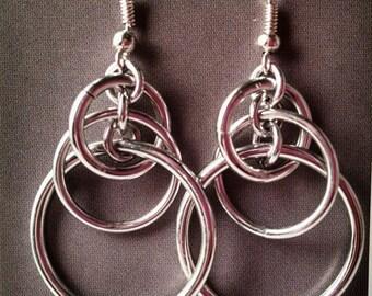 Multi Size Silver Hoop Mobius Orbital Chainmaille Dangle Earrings