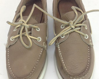 Womens Wimzees Tan Taupe Leather Moccasin Toe Topsider Dockside Boat Shoes USA Sz. 8.5 M