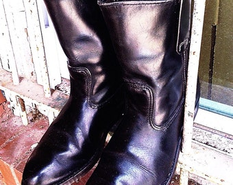 Men's Vintage Red Wing 342 Black Leather Slip Motorcycle Ranch Cowboy Western Boots USA Sz. 7.5