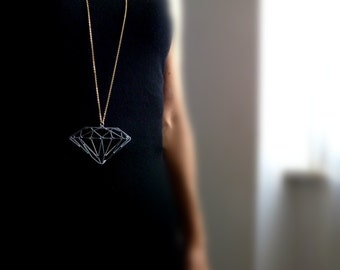 Gold diamond pendant gold necklace silver necklace diamond pendant Diamond shape logn chain Necklace pink
