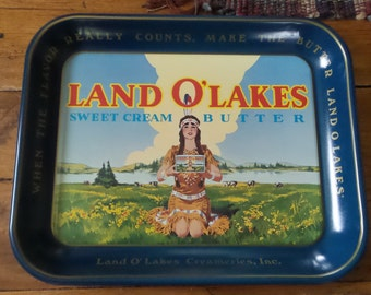 Vintage LAND O' LAKES Advertising Metal Tray, Indian Maiden, Sweet Cream Butter