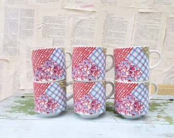 6 Quilted Shabby Chic Mugs - Cups - Pastel