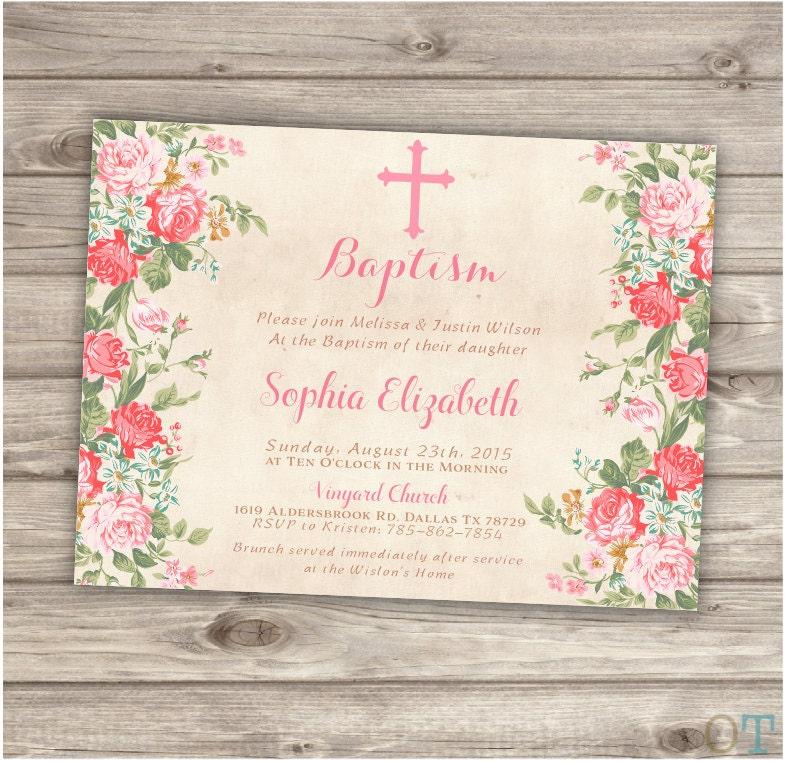 Baptism invitations floral cross pink girl simple modern zoom stopboris Gallery