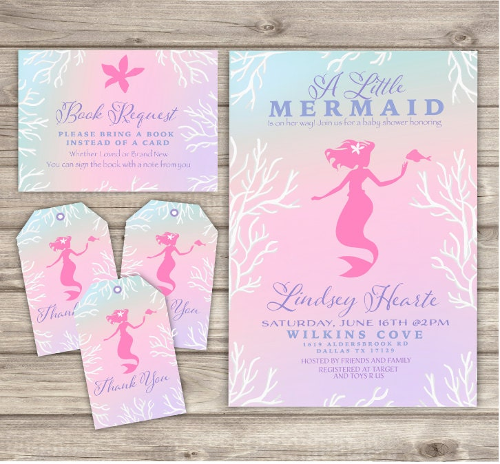 mermaid baby shower invitations shabby chic little mermaid