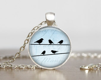 Birds on a wire silhouette pendant. Pink, Blue or White Gift for Her.  Necklace or Keychain