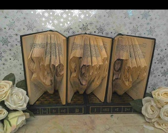 Book folding pattern Live Laugh Love 3 seperate patterns Book art, book folding art Diy book folding pattern gift