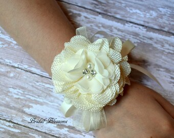Ivory Burlap Flower Wrist Corsage | Rustic Wedding | Country Wedding | Mother of the Bride | Flower Girl | Prom | Autumn Fall