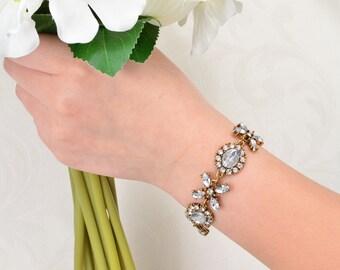 Antique Gold Bracelet, Bracelet, Clear Rhinestone Crystal Bracelet, Bridal Bracelet, Wedding Jewelry, Crystal Rhinestone Bracelet.