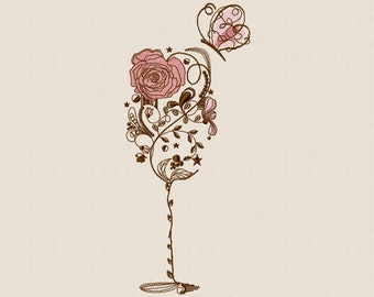 Embroidery machine a floral glass