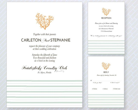 Beach Theme Wedding Invitation: Beach Theme Wedding Invitation Set Beach By LetterLoftPrints