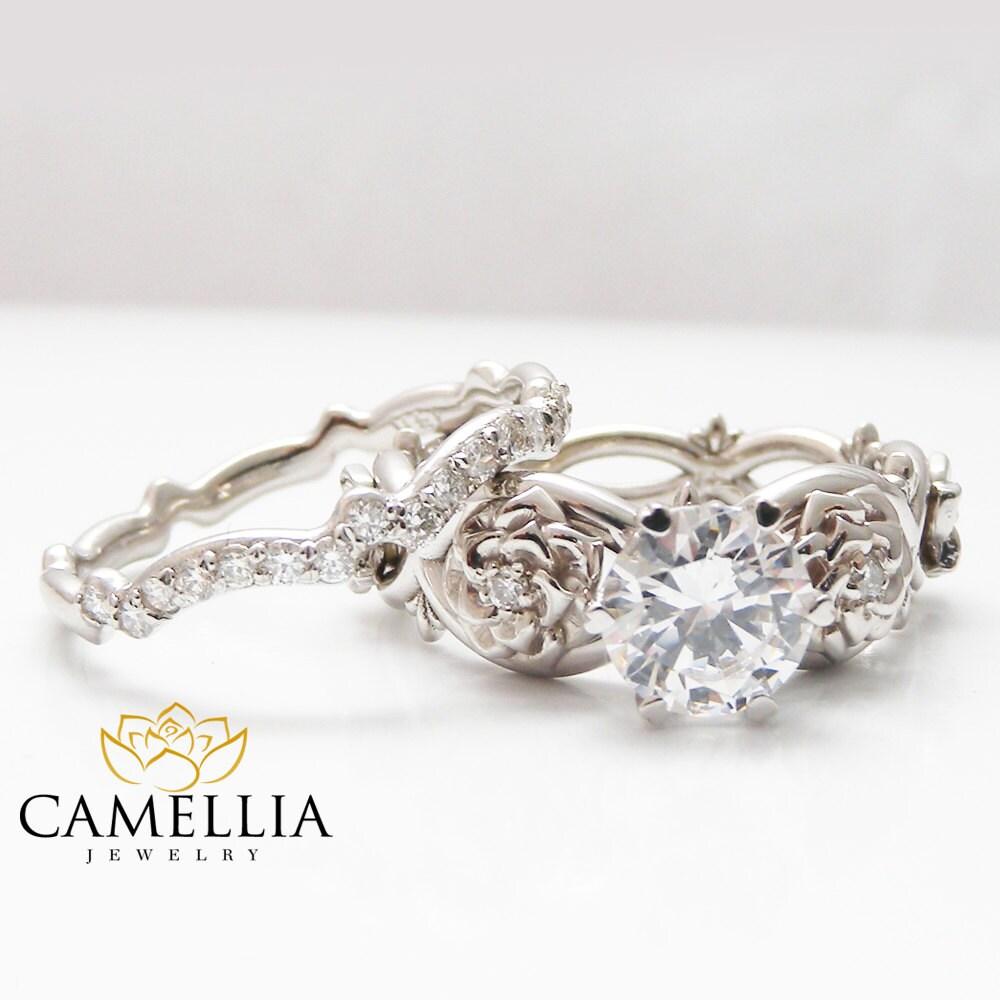 moissanite flower engagement ring set 14k white gold flower. Black Bedroom Furniture Sets. Home Design Ideas