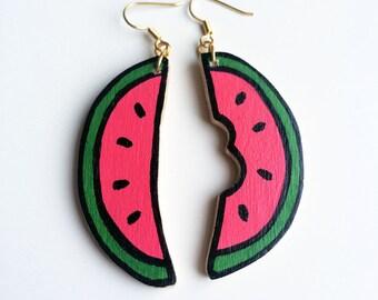 Watermelon Earrings - Hand Sawed Hand Painted Cartoon Wooden Melon Earrings