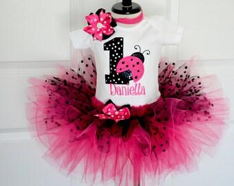 Ladybug Pink and Black polka dot ladybug birthday tutu outfit,Baby Girl 1st Birthday Outft Cake Smash Outfit Girl First Birthday Tutu Outfit