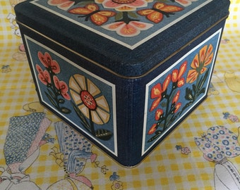 "1980 Current Stationery Tin - ""Country Denim"" - Floral - Butterflies"