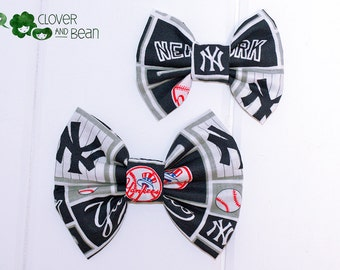 New York Yankees Bow - Yankees Hair Bow - Yankees Bow Tie - NY Yankees - NY Yankees Fabric Bow - MLB Bow - Baseball Bow - Hair Bow or Bowtie
