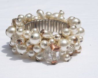 Large Faux Pearl and Charm Cha Cha Bracelet