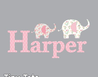 Children Wall Decals Stickers-Floral Pattern Elephant Name Decal-Baby Decals Stickers