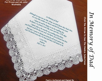 Mother of the Groom Gift Handkerchief  In Memory of Grooms Dad 0815 Sign & Date Free!  5 MOG Wedding Hankerchief Styles and 8 Ink Colors.