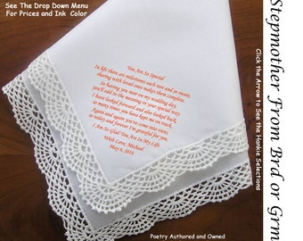 Stepmother of the Bride or Groom Gift Hankie & Poem 0403  Sign and Date                           5 Wedding Hankie Styles and 8 Ink Colors.