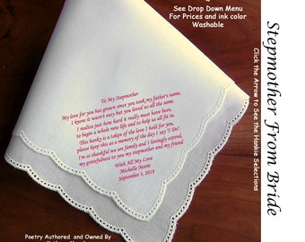 Stepmother of the Bride or Groom Gift Hankie  Poem 0402  Sign and Date.                            5 Wedding Hankie Styles and 8 Ink Colors.