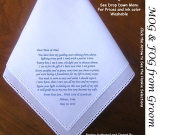 Handkerchief Gift for Mother and Father of the Groom 0811A  Sign & Date for Free!  5 Wedding Hankie Styles and 8 Ink Colors. MOG Hankerchief