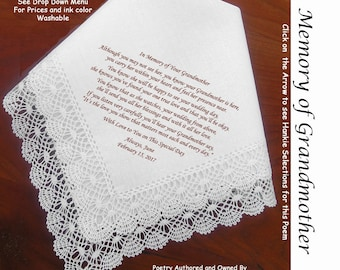 Gift for the Bride Hankie In Memory of Her Grandmother ~ 0511 Sign & Date Free!  5 Brides Handkerchief Styles /  8 Ink Colors. Brides Hankie