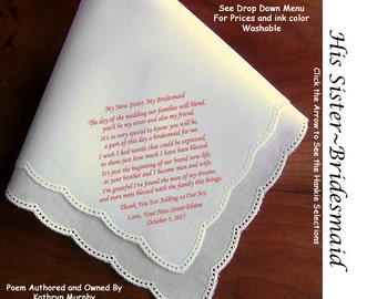 Sister in Law Bridesmaid Gift Hankie 1202~ 5 Wedding Hankie Styles ~ Sign & Date for Free! 8 Ink Colors ~ Sister in Law Hankerchief