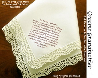 Grandmother of Groom Gift Hankie & Poem From Bride   Sign and Date 1505   5 Wedding Hankie Styles and 8 Ink Colors.