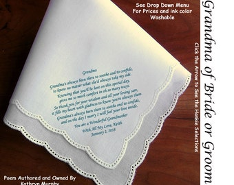 Grandmother of Bride or Groom Gift Hankie & Poem 1502  Sign / Date for Free    5 Wedding Hankie Styles and 8 Ink Colors.