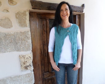 hand knitted vest with leaf pattern