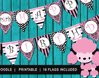 Poodle Birthday Banner - Pendant Birthday Banner - Paris Poodle Pendant - Birthday Sign - Poodle Banner - INSTANT DOWNLOAD - Pink Poodles