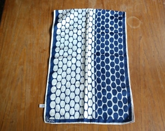 Free US Ship!! Vintage Vera Neumann oblong acetate scarf blue cream oval dots Japan