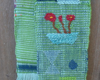 Vintage Table Runner, Woven Fiber or Textile Art, Blues and Greens, Geometric Patterns
