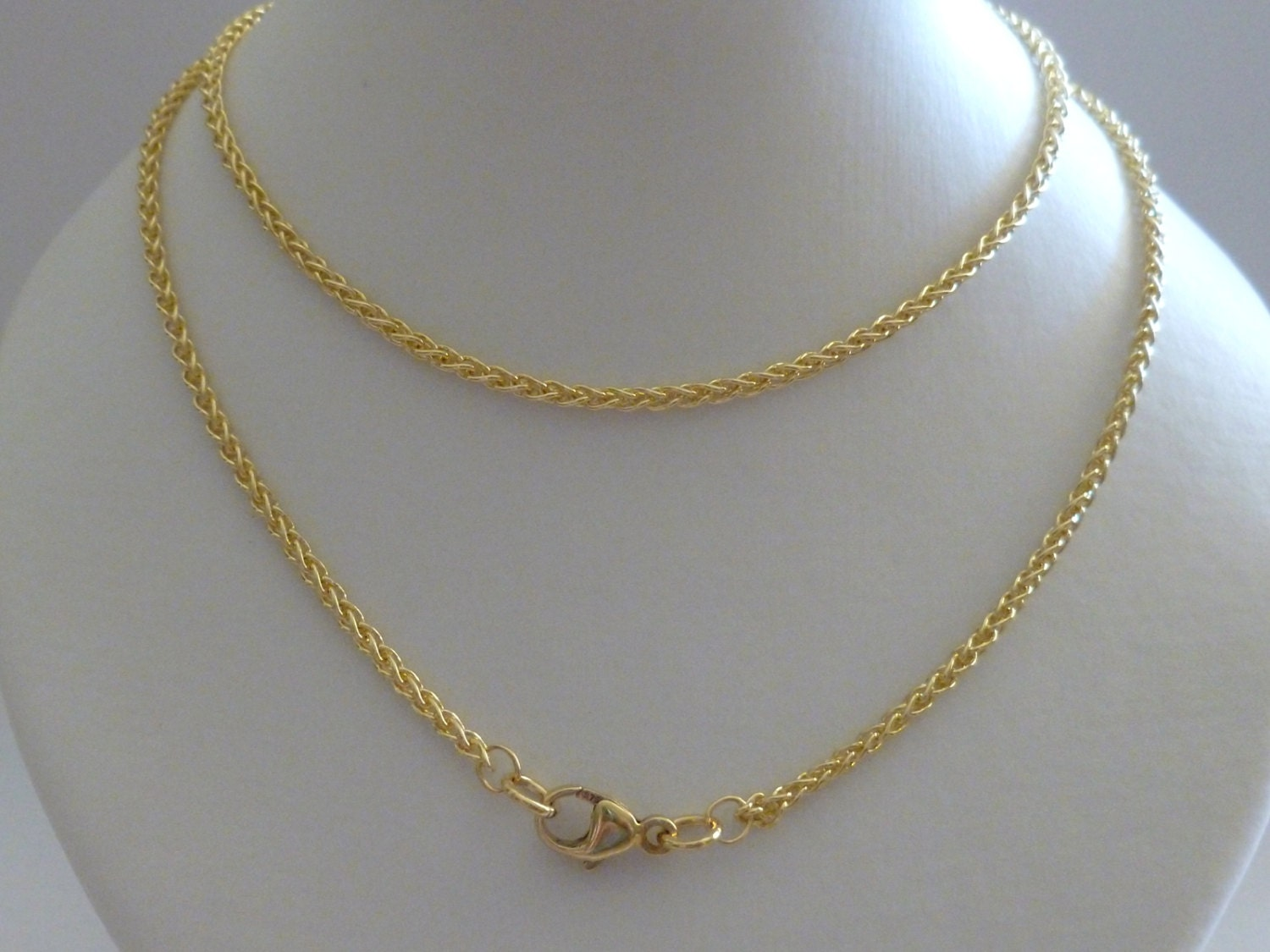 18k gold braided wheat rope chain yellow white rose solid 18k. Black Bedroom Furniture Sets. Home Design Ideas