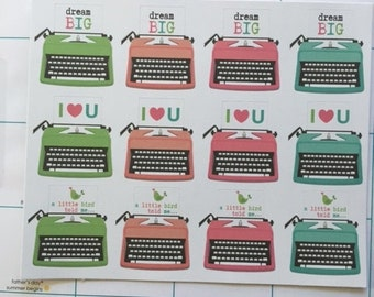 Typewriter Stickers for your Erin Condren Planner or Life Planner