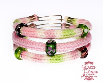 Knitted Bracelet, Teen Gift Bangles, Set of 3 Bangles, Trendy Bangles, Knitted Bangles, Teen Bangles, Pastel Bangles, Pink Green Bangles