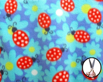 Printed polar fleece sold by the yard BTY 60'' Red Ladybugs & Flowers Turquoise background Create sleepwear loungewear or sportwear clothing