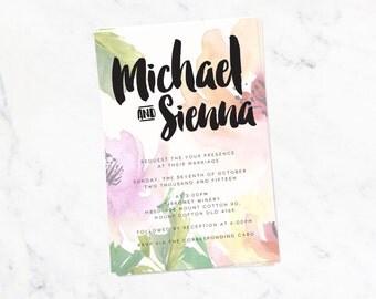 Custom Wedding Invitation Floral Watercolour - Printable