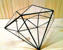 Geometric glass terrarium, Glass Diamond, Stainedglass terrarium