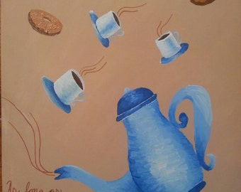 Coffee tea cafe donuts teapot and cups inspired Hand Painted Canvas art
