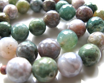 Indian Agate beads, 18 beads, multicolor, faceted, 10mm - # 184