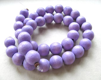 Wood beads, 19 beads, violet, 10mm ---- # 65