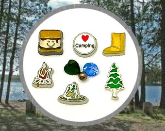SALE! Love to Camp Floating Charm Set. Ugg Boot, Pine Tree, Campsite Tent, Campfire, Smores and Love Camping Charms, with Crystals and Pearl