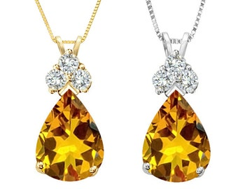 Tousi Jewelers Citrine Necklace -1.50 ct Solitaire Charm Pendanet-Solid 14 k Gold w-3 Accent white sapphire-Citrine November's Birthstone