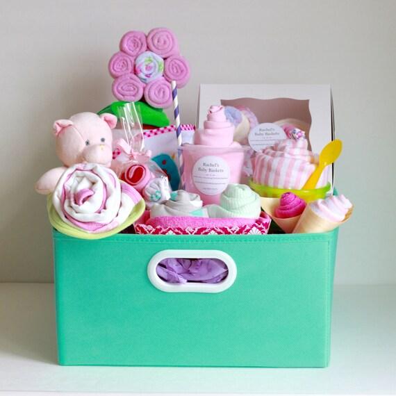 Baby Gift Basket Etsy : Baby girl gift basket shower newborn by