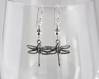 Sterling Silver Dragonfly Earrings, Dragonfly Dangles, Silver Dragonflies, Balinese Silver Dragonfly Jewelry, Dragonfly Drop, Bali Earring