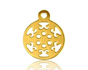 Gold-plated Charm Small Rosette Silver 925